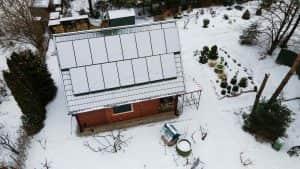 Instalacja fotowoltaiczna 5.1 kWp śnieg widok z góry